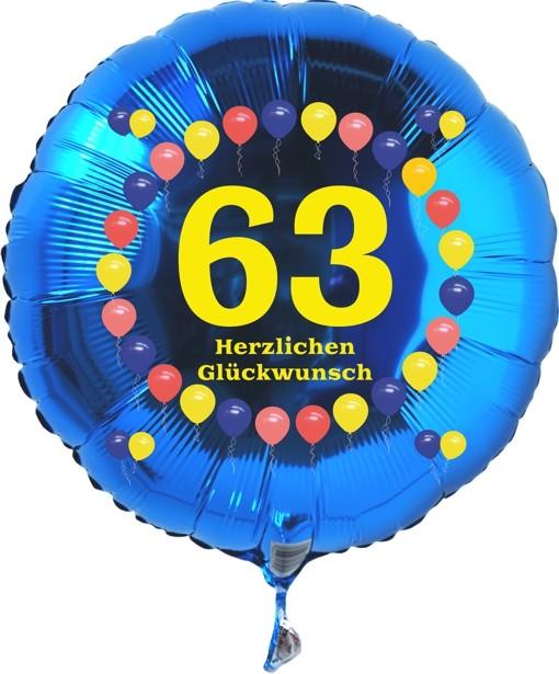 Folienballon 63. Geburtstag Balloons Blau, Folienballon mit Helium