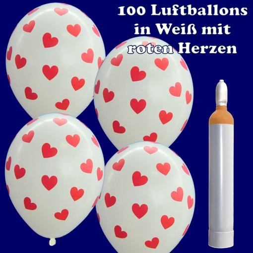 ballonsupermarkt maxi ballons helium set 100 wei e luftballons mit roten herzen. Black Bedroom Furniture Sets. Home Design Ideas