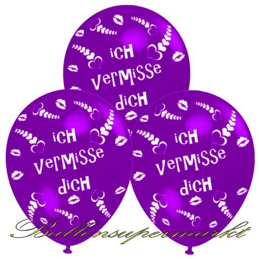 Ich Vermisse Dich Motiv Luftballons Violett 3 Stück Luftballons