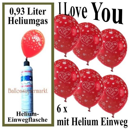 luftballons liebe helium set 6 ballons liebe mini helium einweg luftballons und helium. Black Bedroom Furniture Sets. Home Design Ideas