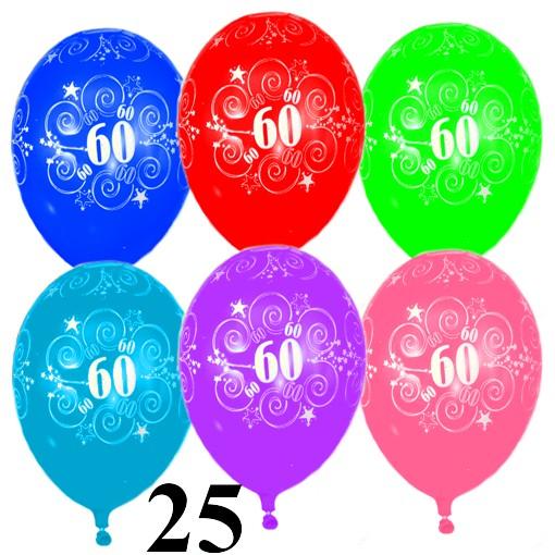 Luftballons Zahl 60 Zum 60. Geburtstag, 25 Stück
