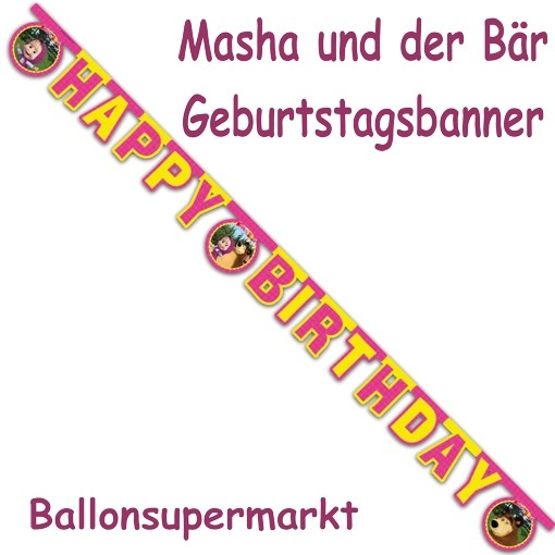 ballonsupermarkt mascha und der b r geburtstagsgirlande happy birthday zum. Black Bedroom Furniture Sets. Home Design Ideas