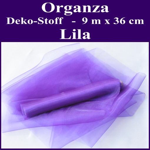 ballonsupermarkt organza deko stoff lila 9 meter x 36 cm organza deko stoffe. Black Bedroom Furniture Sets. Home Design Ideas