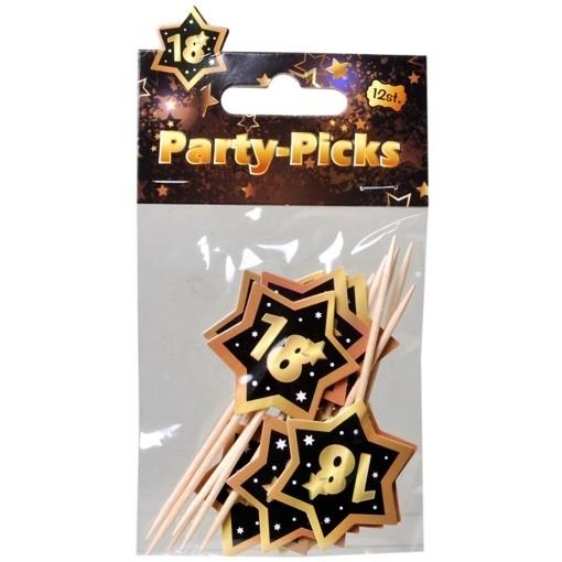Party Picker Zahl 18 Schwarz Gold Dekoration Zum 18 Geburtstag