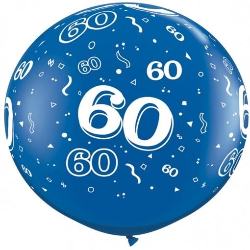 Riesen Luftballon Zahl 60, Blau, 90 Cm, Riesenballon Mit Geburtstagszahl,  Zahl