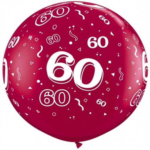 Riesen Luftballon Zahl 60, Pink, 90 Cm, Riesenballon Mit Geburtstagszahl,  Zahl