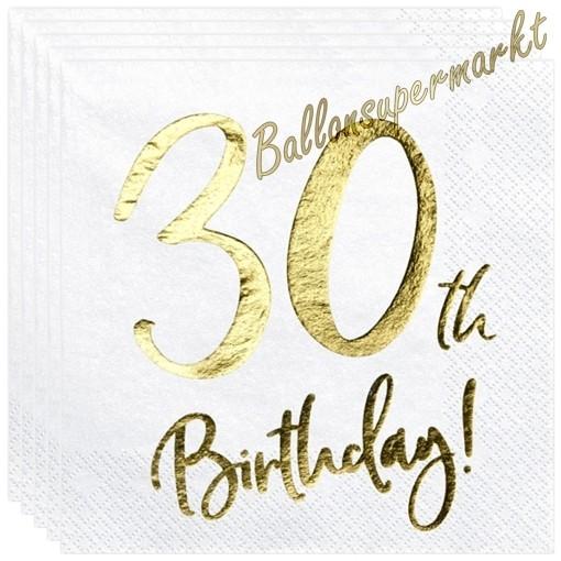 Geburtstagsservietten Zum 30 Geburtstag 30th Birthday Gold