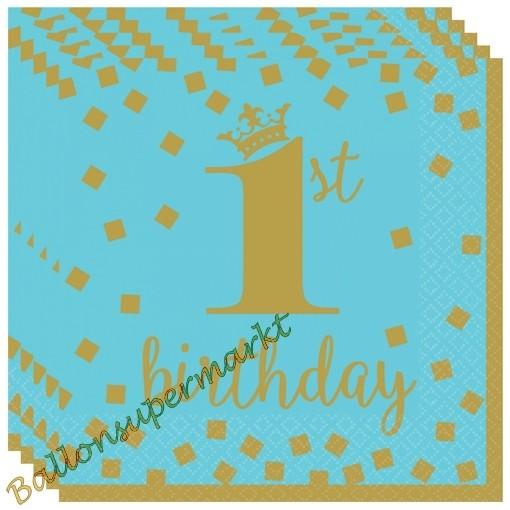 Kindergeburtstag Servietten Gold 1st Birthday Blau Zum 1