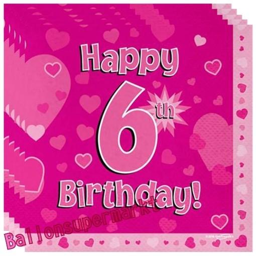 Kindergeburtstag Servietten Happy 6th Birthday Pink Zum 6