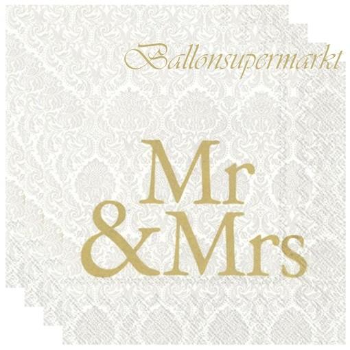 Servietten Zur Hochzeit Mr Mrs Gold