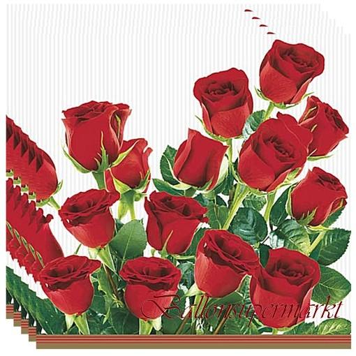 Servietten Mit Roten Rosen Tischdekoration Ballonsupermarkt
