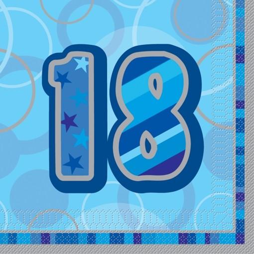 ballonsupermarkt geburtstagsservietten zum 18 geburtstag blau geburtstag 18. Black Bedroom Furniture Sets. Home Design Ideas
