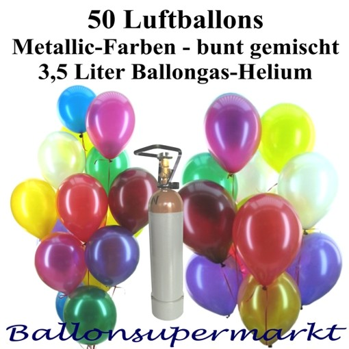 midi set 2 50 bunte luftballons metallic mit helium midi set 2 50er ballons helium sets. Black Bedroom Furniture Sets. Home Design Ideas