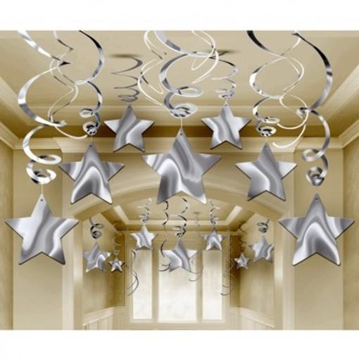 ballonsupermarkt silvester deko wirbler swirls sterne silber 30 st ck. Black Bedroom Furniture Sets. Home Design Ideas
