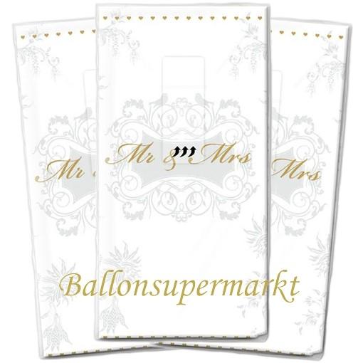 ballonsupermarkt taschent cher mr and mrs silber dekoration zur hochzeit. Black Bedroom Furniture Sets. Home Design Ideas
