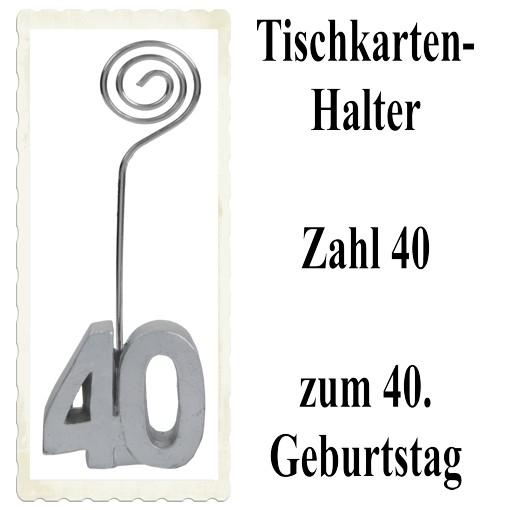 Tischkartenhalter Zahl 40 Silber Zum 40 Geburtstag Tischdekoration