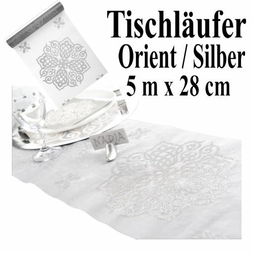 Deko Tischlaufer Tischdecke Orient Silber Partydekoration