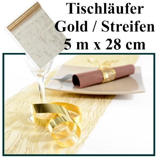 ballonsupermarkt deko tischl ufer tischdecke gold mit streifen goldene. Black Bedroom Furniture Sets. Home Design Ideas