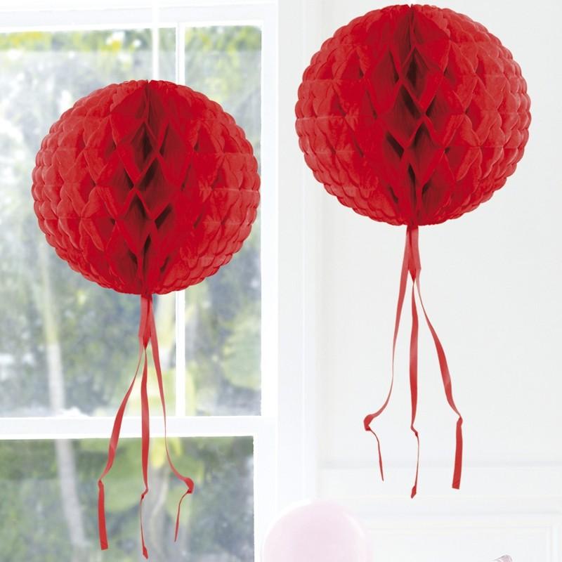 Ballonsupermarkt wabenball rot 30 cm - Dekoration rot ...