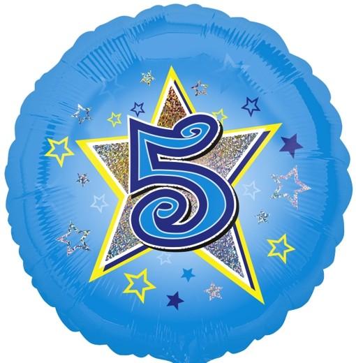ballonsupermarkt luftballon aus folie mit helium 5 geburtstag blau junge. Black Bedroom Furniture Sets. Home Design Ideas
