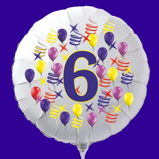"""6 bunte Luftballons mit Zahl /""""6/"""" Geburtstag Kindergeburtstag Firmenjubiläum"""