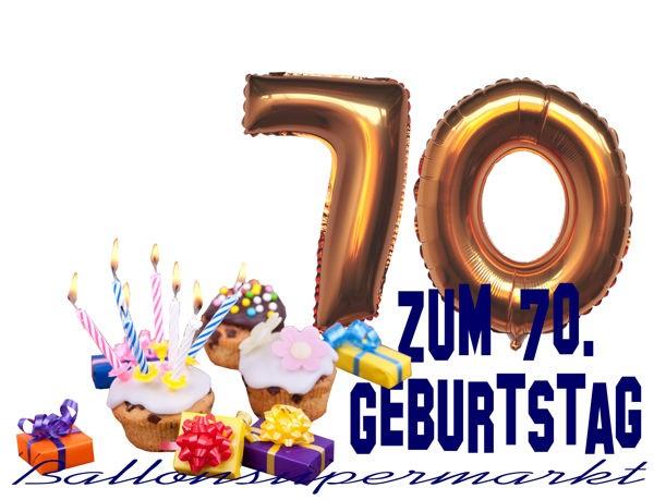 Ballonsupermarkt zahlen luftballon aus folie 7 sieben gold 40 cm - Dekoration zum 70 geburtstag ...