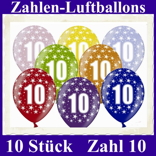 ballonsupermarkt luftballons zahl 10 zum 10 geburtstag gemischte farben 30cm. Black Bedroom Furniture Sets. Home Design Ideas