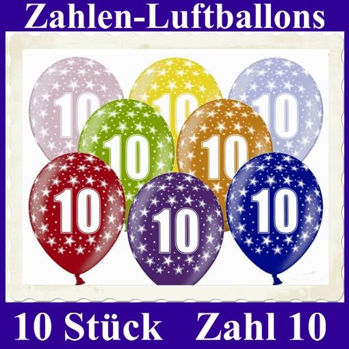 ballonsupermarkt luftballons zahl 10 zum 10 geburtstag gemischte farben 30cm. Black Bedroom Furniture Sets. Home Design Ideas