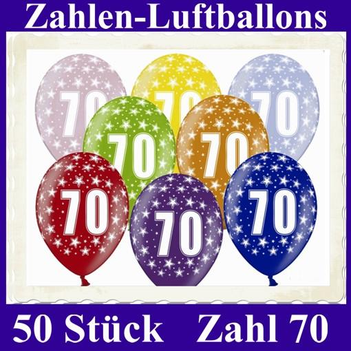 Luftballons zahl 70 zum 70 geburtstag gemischte farben 30cm 50 st ck luftballons mit - Dekoration zum 70 geburtstag ...