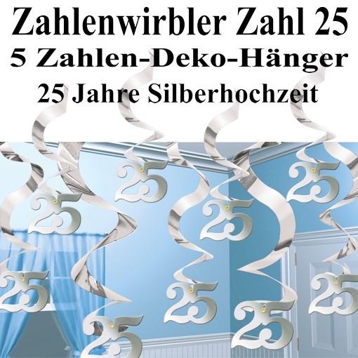 Stream Swirls Dekoration Zahl 25 Silberne Hochzeit Ballonsupermarkt