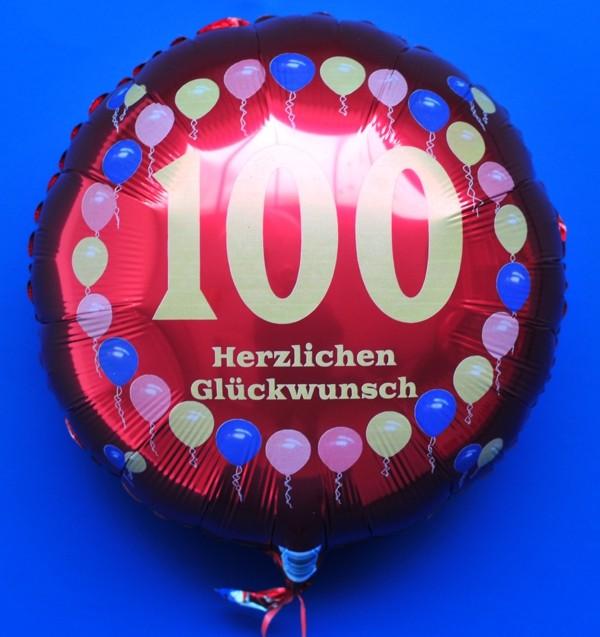luftballon zum 100  geburtstag  folienballon mit helium