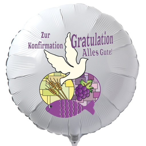 zur konfirmation gratulation alles gute luftballon aus folie wei mit helium. Black Bedroom Furniture Sets. Home Design Ideas