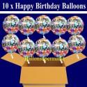 10 Geburtstags-Luftballons Happy Birthday Balloons, Holografisch, inklusive Helium