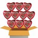 """10 rote Herzluftballons, """"Zur Rosenhochzeit herzlichste Glückwünsche!"""" , inklusive Helium"""