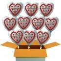 """10 weiße Herzluftballons, """"Zur Rosenhochzeit in Liebe!"""" , inklusive Helium"""