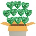 """10 Stück grüne Herzluftballons, """"Alles Gute zur Petersilienhochzeit"""" , inklusive Helium"""