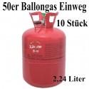 10 Helium-Einweg-Behälter, 50er Ballongas-Heliumgas-Einwegflaschen