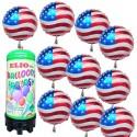 Luftballons Super-Mini-Helium-Set, 10 USA-Ballons aus Folie mit 1 Liter Helium-Einweg