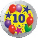 Luftballon aus Folie, 10. Geburtstag, Luftballons und Sterne Zahl 10, ohne Helium