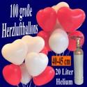 Maxi-Set 1B, 100 Herzluftballons 40 cm mit Helium, Weiß und Rot