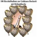 100 Ballons aus Folie, Goldene Hochzeit, mit dem Helium-Mehrweg-Behälter