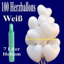 Maxi-Set 1W, 100 weiße Herzluftballons mit Helium