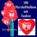Maxi-Set, Ballons-Helium, 100 rote Herzluftballons mit Hochzeitstauben
