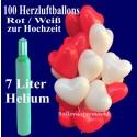 Hochzeit Herzballons steigen lassen / Maxi-Set 1 Rot-Weiss / 100er