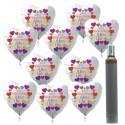 """Maxi-Set Valentinstag, 100 Herzluftballons aus Folie, """"Zum Valentinstag Alles Liebe!"""" mit 10 Liter Helium"""