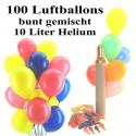 Maxi-Set 2, 100 bunte Luftballons mit Helium (gemischt)