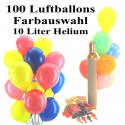Maxi-Set 2A, 100 bunte Luftballons mit Helium (Farbauswahl)