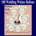 100 Luftballons aus Folie, Hochzeit, Wedding Wishes mit dem Helium-Mehrweg-Behälter