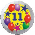 Luftballon aus Folie, 11. Geburtstag, Luftballons und Sterne Zahl 11, ohne Helium