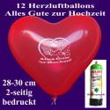 """Herzluftballons Super-Mini-Set, 12 rote Herzballons """"Alles Gute zur Hochzeit"""", mit Helium-Einweg"""